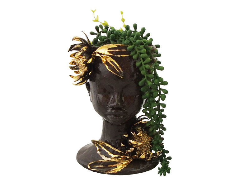 Handmade Ceramic Lady Planter - Black Clay and Gold Lustre Protea