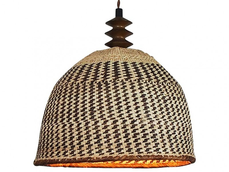 African Basket Lampshade - Wood Bead