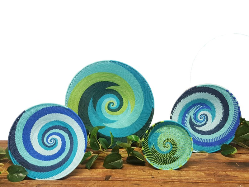 4 xTelephone Wire Baskets - Blues, Greens & Turquoise