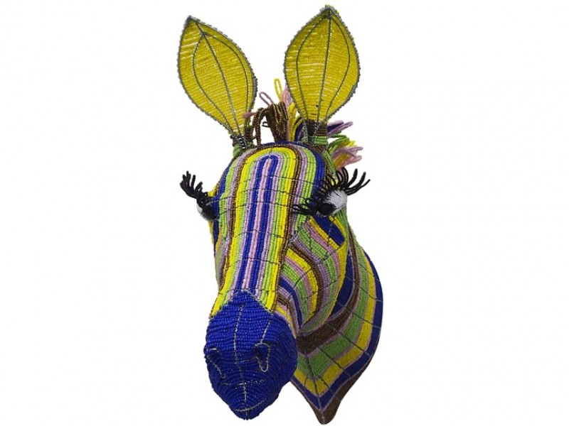 Colourful Beaded Zebra Head
