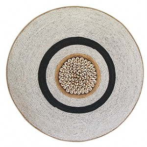 Large Beaded Shield - White With Black Ring and Cowrie Center
