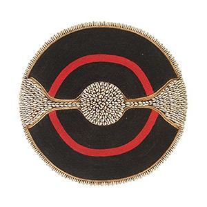 Large Beaded Shield - Black With Red Ring and Cowrie shell Band and Trim