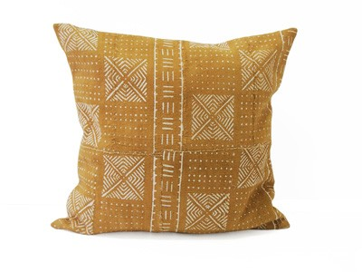 Mudcloth Cushion - Olive And White - Design 8 - 50 x 50cm