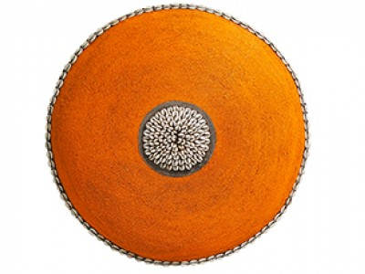 Large Beaded Shield - Orange With Cowrie Center and Trim