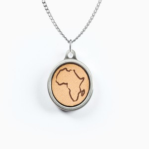 Hollow Africa Leather Inlay Pendant