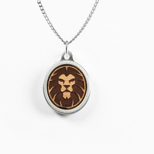 Lion Leather Inlay Pendant