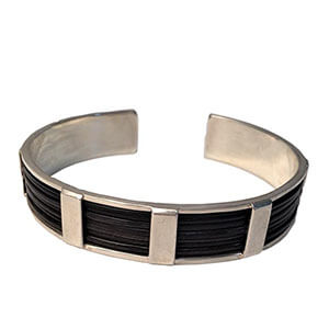 Gents 15mm Silver And Elephant Hair Bangle