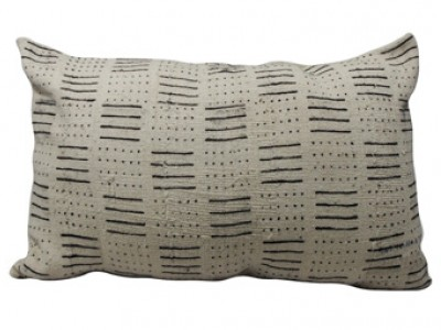 Mudcloth Lumbar Cushion - White Lines and Dots 60 X 40cm