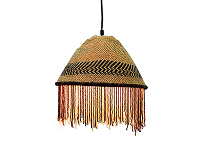 African Beaded Basket Pendant Lampshade - Brown and White Beads