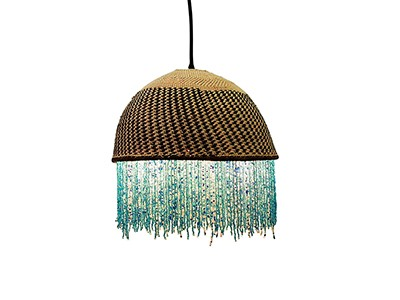 African Beaded Basket Pendant Lampshade - Blue Beads