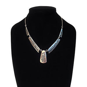 Silver Zebra Print Necklace With Elephant Hair