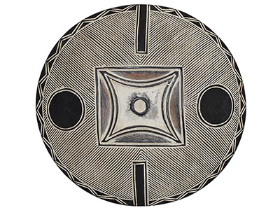 African Carved Wood Shield - 9