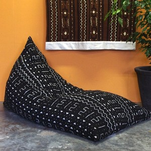 Mudcloth Bean Bag - Black