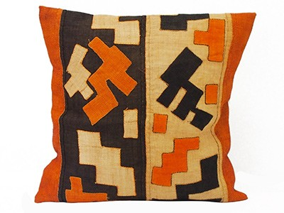 African Kuba Cloth Cushion Cover (Orange) - 1