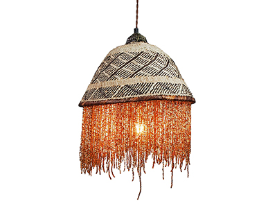Beaded Basket Lampshade - Brown and Gold Bead