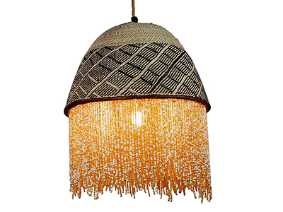 Beaded Basket Lampshade - White and Gold Beads