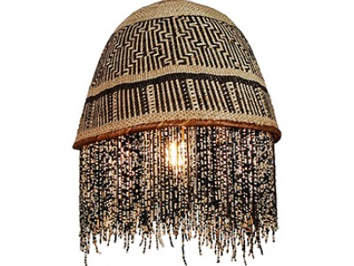 Beaded Basket Lampshade - Black and Silver Beads