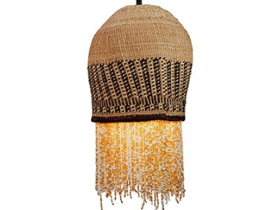 Beaded Basket Pendant Lampshade - White and Gold Beads
