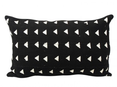 Mudcloth Lumbar Cushion - Black- White Arrows 60 X 40cm