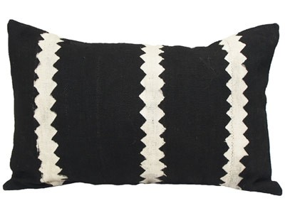 Mudcloth Lumbar Cushion - Black- White Triangles 60 X 40cm