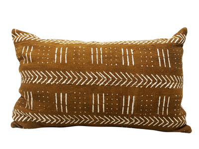Mudcloth Lumbar Cushion - Olive - Arrows 60 X 40cm