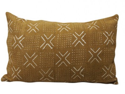 Mudcloth Lumbar Cushion - Olive - Crosses & Dots 60 x 40cm