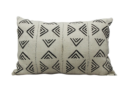 Mudcloth Lumbar Cushion - White and Black - Triangles- 60 x 40cm