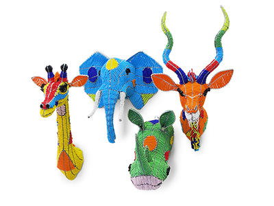 Colourful Beaded Animal Head Wall Decor Set