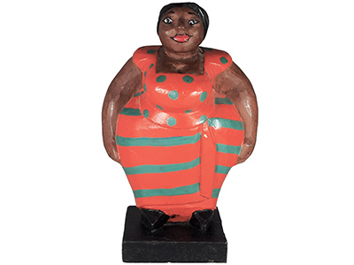 Mama Africa Wood Sculpture - Orange dress 30cm