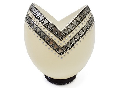 Ostrich Egg Decor with Pewter Design - 2